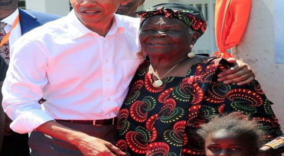 Former US President Barack Obama with his late grandmother Sarah.