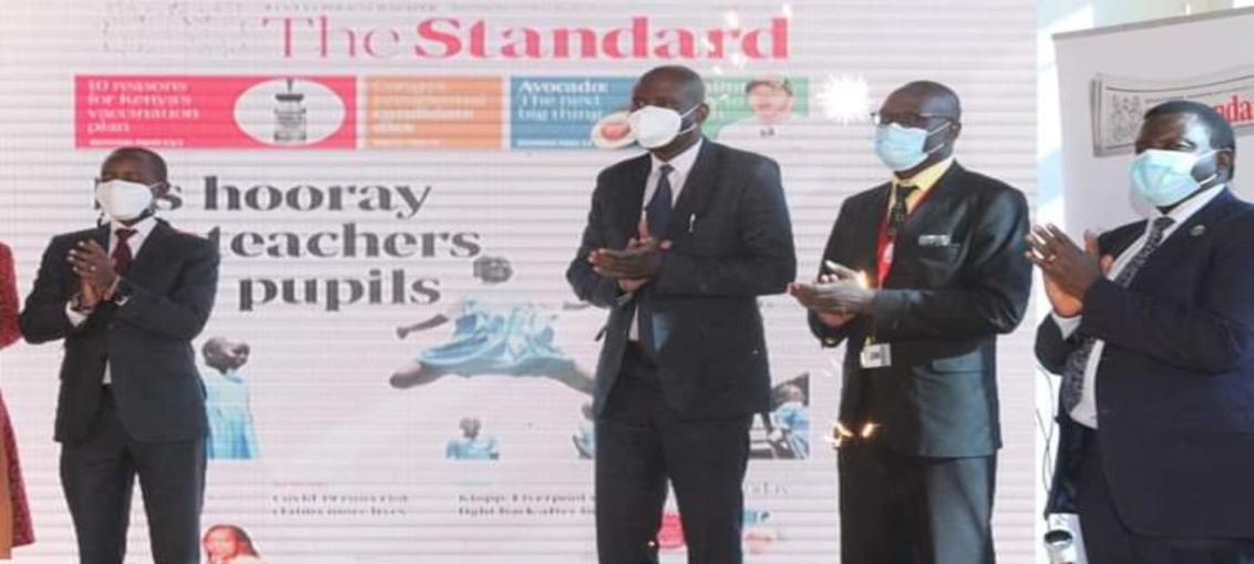 CS Joe Mucheru, GPF CEO Daniel Juma and Standard CEO Orlando Lyomu during the launch of the redesigned newspaper.