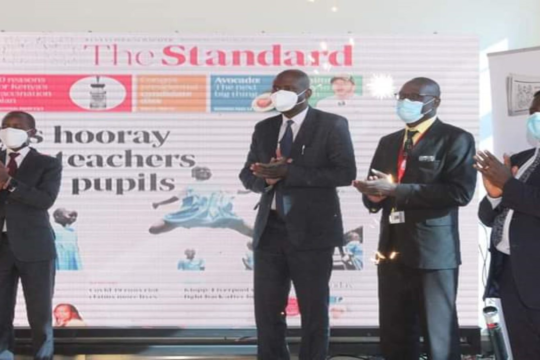 CS Joe Mucheru, GPF CEO Daniel Juma and Standard CEO Orlando Lyomu during the launch of the redesigned newspaper.